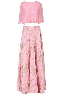 Pink floral embroidered top and skirt set by EAU