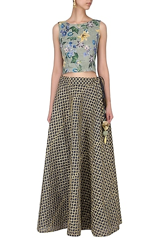 Green Floral Print Crop Top with Navy Embroidered skirt by EAU