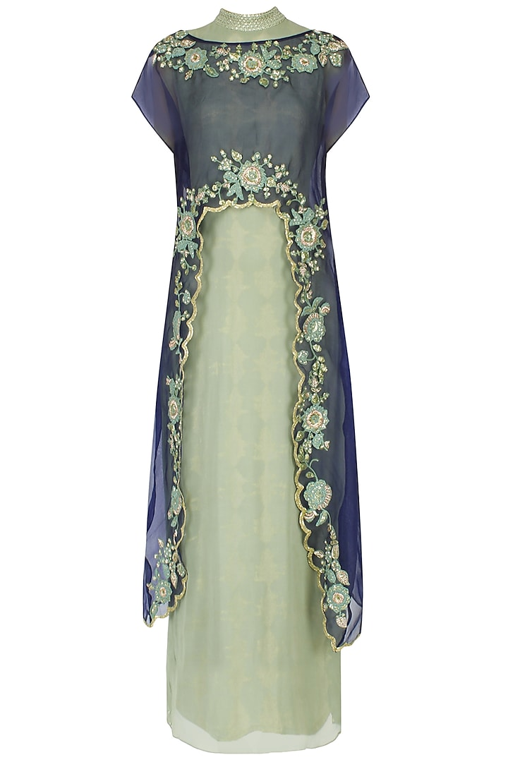 Green and navy embroidered cape dress by EAU