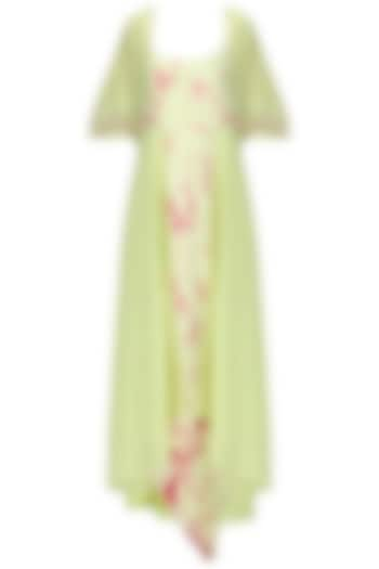 Mint Green and Magenta Pink Asymmetrical Dress with Embroidered Jacket by EAU