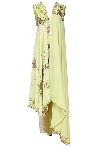 Mint Green Embroidered Asymmetrical Tunic with Straight Pants by EAU