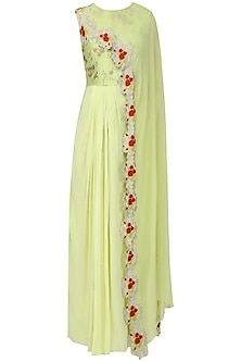 Mint Green Anarkali Gown with Embroidered Drape Dupatta by EAU