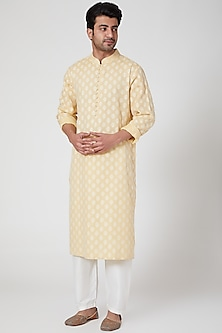 Lemon & White Kurta Set by Ekam by Manish Gupta
