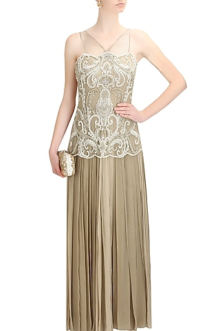 Beige beads and sequins applique work sheer etheral gown by Elysian By Gitanjali