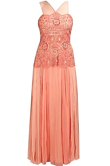Peach beads and sequins applique work sheer prom gown by Elysian By Gitanjali