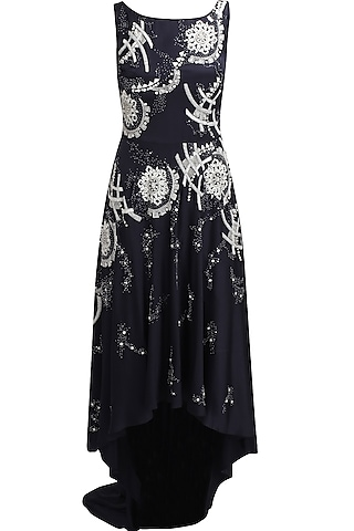 Navy blue sequins and beads embellished dark beauty cocktail gown by Elysian By Gitanjali