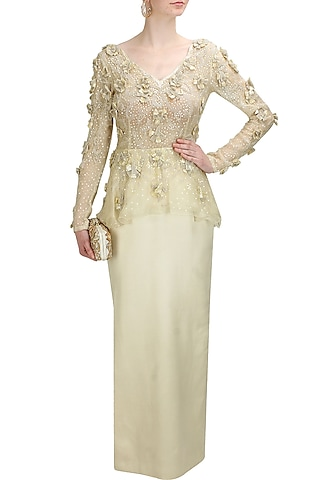 Ivory floral sequins and beads embroidered peplum gown by Elysian By Gitanjali