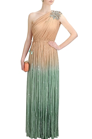 Beige and green ombre one shoulder embellished cleopatra gown by Elysian By Gitanjali