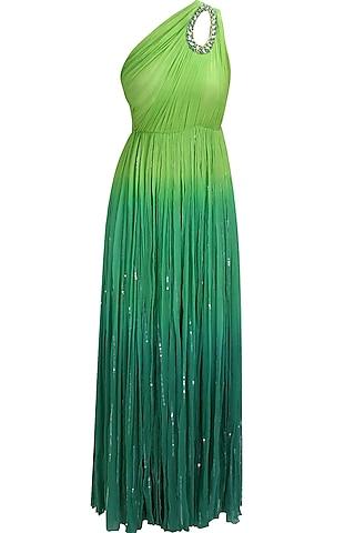 Green ombre sequins embellished one shoulder trinkerbell gown by Elysian By Gitanjali