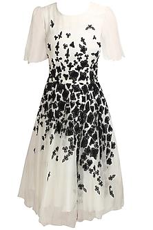 White and black organza cut flower motifs angel dress by Elysian By Gitanjali