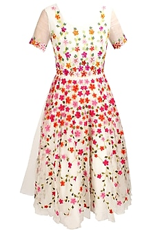 Ivory floral thread and sequins embroidered fairy dress by Elysian By Gitanjali