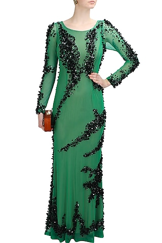 Green and black sequins and beads embellished helen gown by Elysian By Gitanjali