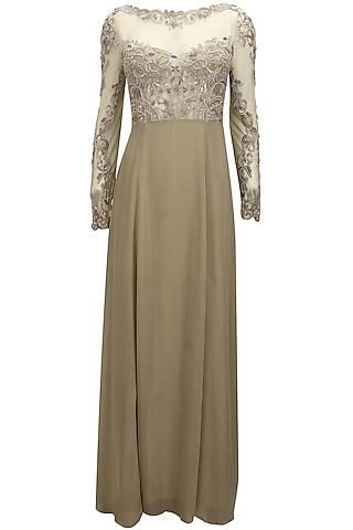 Gold sequins and beads embellished sheer princess gown by Elysian By Gitanjali