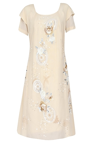 Beige Rosette Pattern High Low Dress With Plaited Tie Up Robe Belt by Elysian By Gitanjali