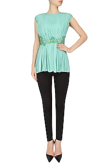 Sea Green Cut-Work Sequinned Top by Elysian By Gitanjali