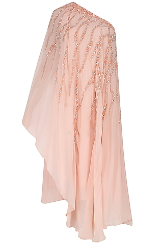 Peach One Shoulder Sequins Embellished Asymmetric Dress by Elysian By Gitanjali