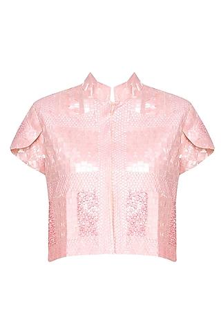 Peach Sequins Embellished High Neck Crop Jacket by Elysian By Gitanjali