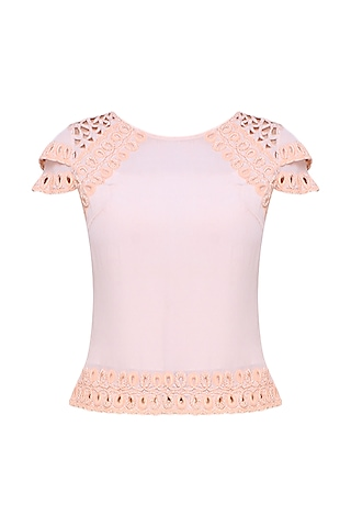 Peach Hand Embroidered Top by Elysian By Gitanjali