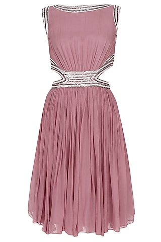 Onion Pink Sequins Embellished Cut Out Dress by Elysian By Gitanjali