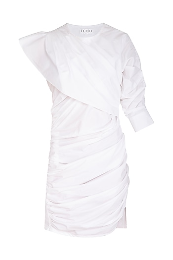 White Layered Cotton Dress by Echo