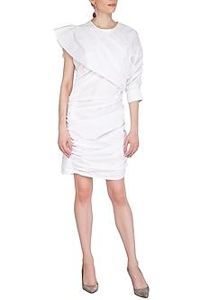 White Layered Cotton Dress by Echo