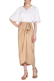 Beige Tie-Up Drape Skirt by Echo