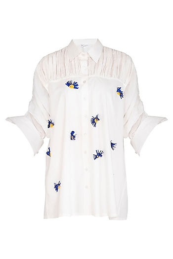 White Embroidered Shirt by Echo