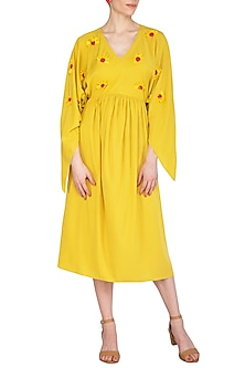 Yellow Embellished Dress by Echo