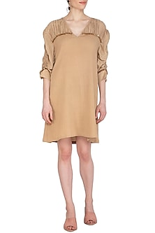 Beige Embroidered Crinkled Cotton Dress by Echo