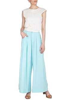 Blue Pleated Pants by Echo