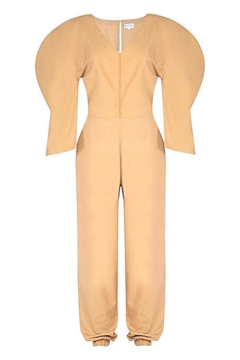 Beige Cotton Jumpsuit by Echo