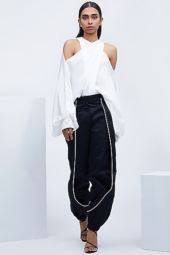 Black Layered Pants With White Piping by Echo