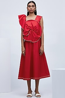 Red Knotted Back Dress by Echo