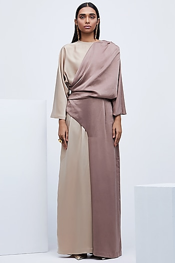 Brown Layered Jumpsuit With Pleats by Echo