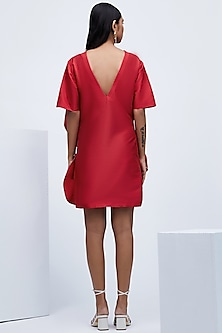 Red Dress With Front Frills by Echo