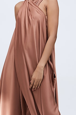 Brown Draped Jumpsuit With Fitted Ankle by Echo