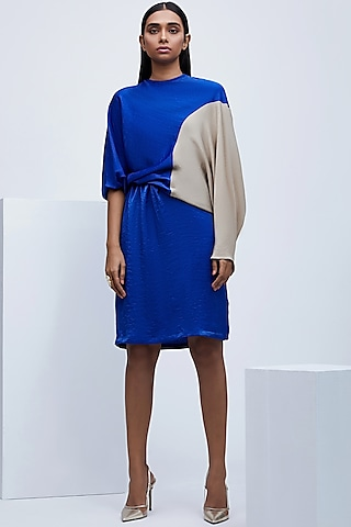 Cobalt Blue & Beige Dress With Elasticated Waist by Echo