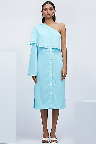 Sky Blue Dress With High Slit by Echo
