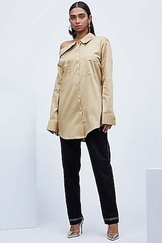 Beige Shirt With Collared Off Shoulder by Echo