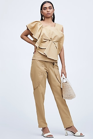 Beige Eched Pants With Pockets by Echo