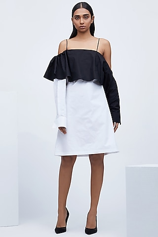 Black & White Frilled Dress by Echo