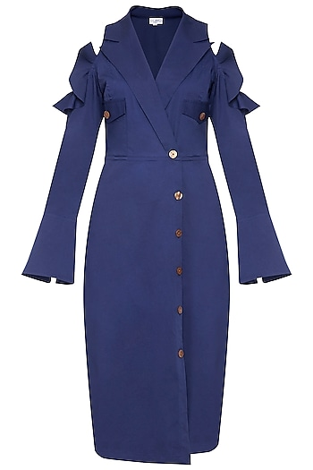 Navy blue front open trench dress by ECHO
