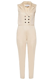 Beige double breasted jumpsuit by ECHO
