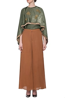Brown pleated flared pants by ECHO