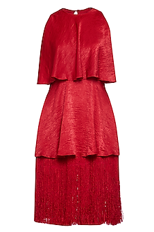 Red tiered tassels dress by ECHO