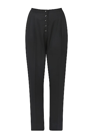 Black Button Down Trousers by Echo