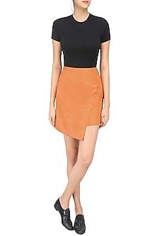 Orange Suede Skirt by Echo