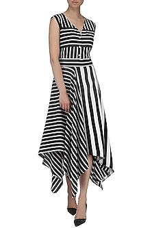 Black and White Striped Hankerchief Dress by Echo