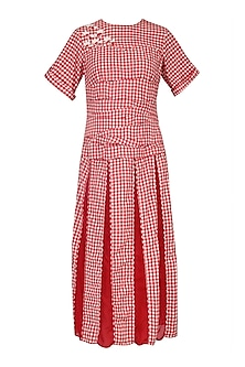 Red and White Gingham Checked Midi Dress by Echo