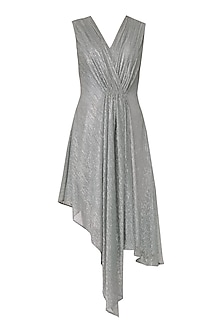 Silver Asymmetrical Drape Dress by Echo